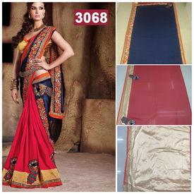 New Designer Elegant Saree Blue Red Golden with Flower Lace Border Work