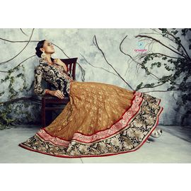 Pure Bhagalpuri Silk Black Lehenga with Copper Choli Full Embroidery