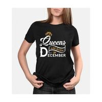 Queens are born in December round neck High Quality BIO WASH Tshirt for women - Best birthday gift, l