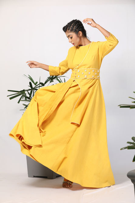 SASSY YELLOW WRAP DRESS