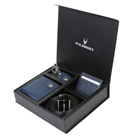 WILDHORN BLUE NEW HIGH QUALITY GENUINE MEN' S LEATHER GIFT COMBO 009