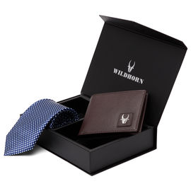 WildHorn Men 100% Genuine Leather Wallet and Tie Gift Set Combo for Boys and Men