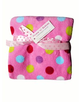 Multi Colour Polka Dotted Pink Baby Blanket