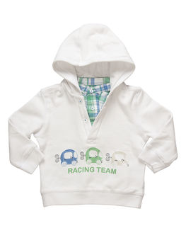 White Full Sleeve Hooded Sweat Shirt for boys, 12 months