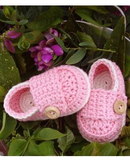 Cute Crochet Baby Booties - Pink, 6-12 months