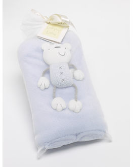 Luxury Fleece Blanket+ Teddy (Periwinkle Blue)