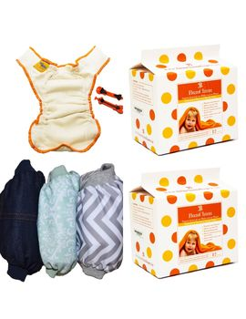 Bumchum New-born Cloth Diaper Starter Pack: Organic Muslin New-born Nappy (pack of 4) , Diaper Covers(Small 2 pc), new-born to 6 months