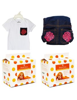 Bumchum Hybrid Cover Denim Girl with Matching T-shirt and 24 Disposable Nappy Pad, 3 months - 6 months
