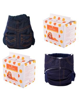 Bumchum Hybrid Diaper Cover Denim with 1 Washable and Disposable Nappy Pads (24Pcs), 6 months - 12 months