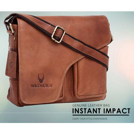 WildHorn Leather Messenger Bag DIMENSION: L- 11inch H- 9.5inch W- 3inch