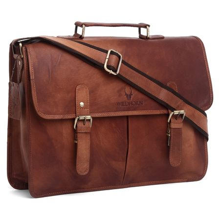 WildHorn 100% Genuine Leather Vintage Laptop Messenger Bag DIMENSION L-16inch W-3inch H-12inch