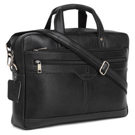 WildHorn 100% Genuine Leather Laptop Messenger Bag for Men (Black NDM) Dimension: L- 16inch H- 11.5inch W- 3.5inch