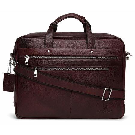 WildHorn Genuine Leather Brown Laptop Messenger Bag