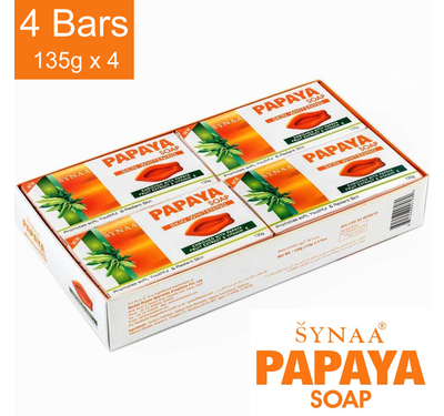 Synaa Papaya Soap - Skin Whitening Soap Pack of 4 X 135g
