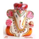 Marble Pagdi Ganesha Gold Painted - CGMPG0012, 3 inches