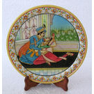 Marble Plate With Mughal Painting 2, 9 inches