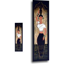 Glass Painting - Tribal Woman Holding a Pot, 24.7 x 6.7 inches