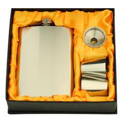 Designer High Quality Stainless Steel Pocket Liquor Hip Flask Gift Set, 6 oz