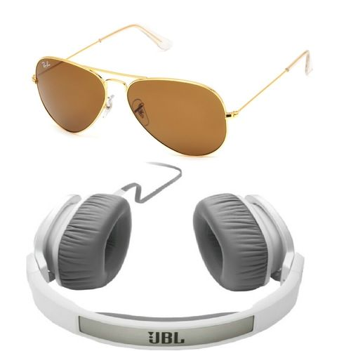 Rayban Aviator With JBL 55i HeadPhone Combo