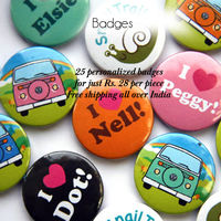 44mm/58mm 25 pcs Personalized Smiley Button Badges