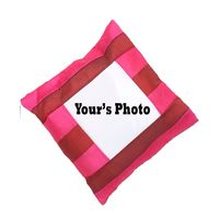 Personalized Square Photo Cushion with pillow 16x16 pink stripes