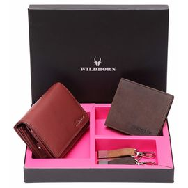 WildHorn RFID Protected Combo Leather Wallet Gift Set for Any Occasions/Diwali/Valentine Day/New Year