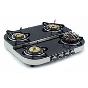 Sunshine Meethi Angeethi Four Burner Step Toughened Glass Top Gas Stove, lpg, manual