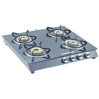 Sunshine Alfa MS Four Burner Toughened Glass Gas Stove, lpg, manual