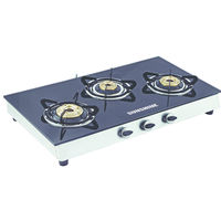 Sunshine Alfa SS Three Burner Toughened Glass Gas Stove, lpg, manual