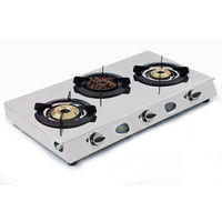 Sunshine Meethi Angeethi Three Burner Stainless Steel Gas Stove, lpg, manual