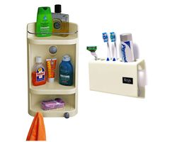 CiplaPlast Combo of Caddy Bathroom Corner Cabinet & Tooth Brush Holder - Ivory