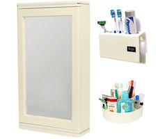 CiplaPlast Combo of Domino Bathroom Mirror Cabinet, Tooth Brush Holder & Multi-Purpose Container - Ivory