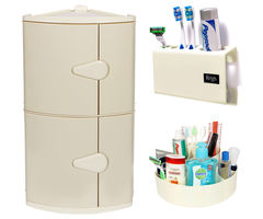 CiplaPlast Combo of D. D. Corner Bathroom Cabinet, Tooth Brush Holder & Multi-Purpose Container - Ivory