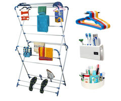 CiplaPlast Combo of Oyster Cloth Dryer Stand, 12 pcs Hanger, Tooth Brush Holder & Multi-Purpose Container (White)