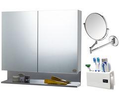 CiplaPlast Combo of Double Door Stainless Steel Bathroom Cabinet, Shaving Mirror (ARM) & Tooth Brush Holder - White