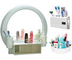 CiplaPlast Combo of Decor Designer Bathroom Mirror Cabinet, Tooth Brush Holder & Multi-Purpose Container - White
