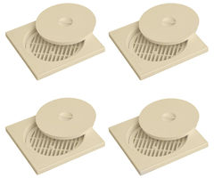 CiplaPlast Shower Floor Drain / strainer with lid - BRC 732 Ivory (Pack of 4)