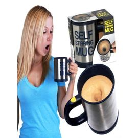Self Stirring Mug Stainless Steel with Rubber Proof Snack Lock Lid