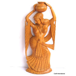 Beautiful Lady Statue in Wood, 12 inches