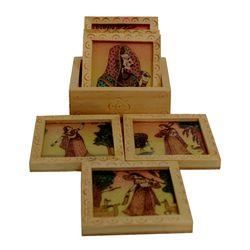 Wooden Coaster 6 Pcs Set, 3 x3