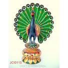 Craftsgallery Wooden Peacock Painted Sculpture for Home Decor, 6 inches
