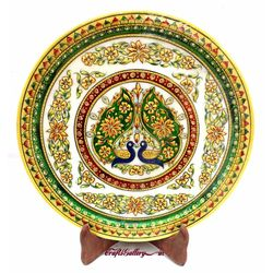 Marble Plate with Emboss Peacock Painting 2, 12 inches, 12 inches