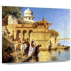 An Indian Ghat Scene - Canvas Art - 14 x 18 inch, 18 x 14 inches