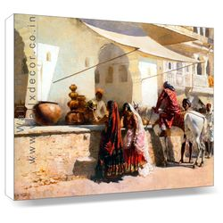 India Street Market Scene - circa 1887 - Canvas Art - 18 x 14 inch, 1887 painting by erwin