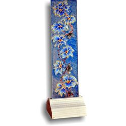 Glass Painting - Blue Flower Vine, 3 x 9 inches