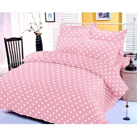Baby pink and white polka dotted bedsheet with two pillow covers