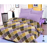 Purple bedsheet with multicolored print and two pillow covers
