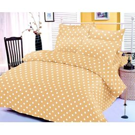 Yellow and white polka dotted bedsheet with two pillow covers