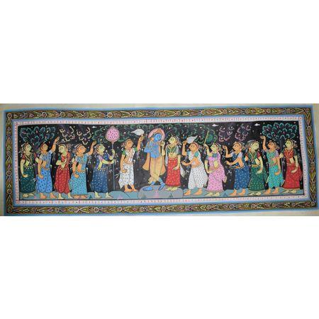 OHP061: Lord Krishna with Radha Rani and Gopiya patachitra painting's.
