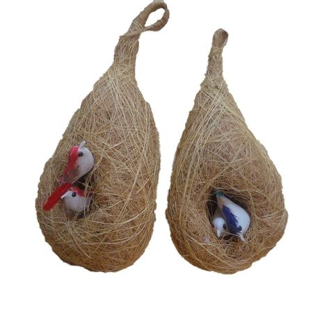 OHC004: Handicrafted Bird's natural Home set of 2